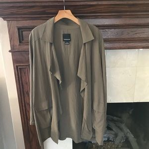 TROUVE Open Drape Front Military Jacket in Olive